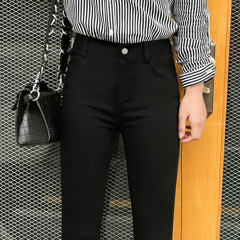 Outer wear black leggings pants spring and autumn 2017 new big yards in nine feet pencil trousers summer thin section