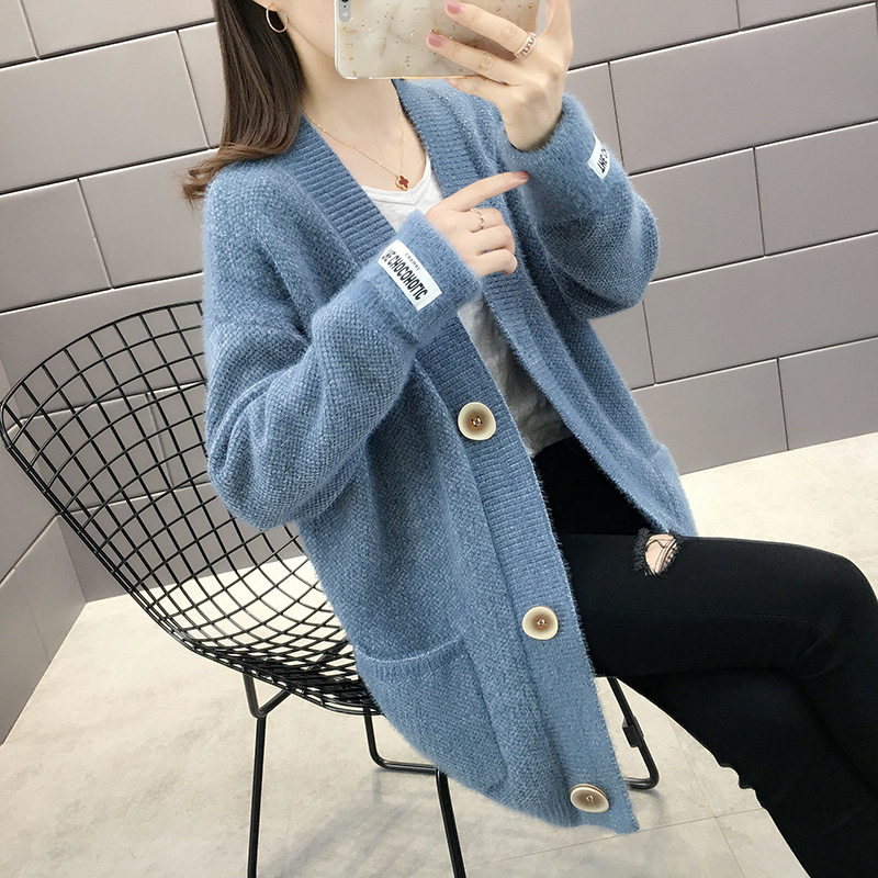 Mink fur lazy sweater womens coat 2020 spring and Autumn New Korean loose medium length knitted womens cardigan