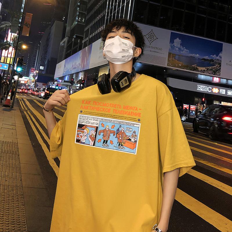 夏季男士短袖韩版嘻哈潮牌港风t恤热销1件假一赔三