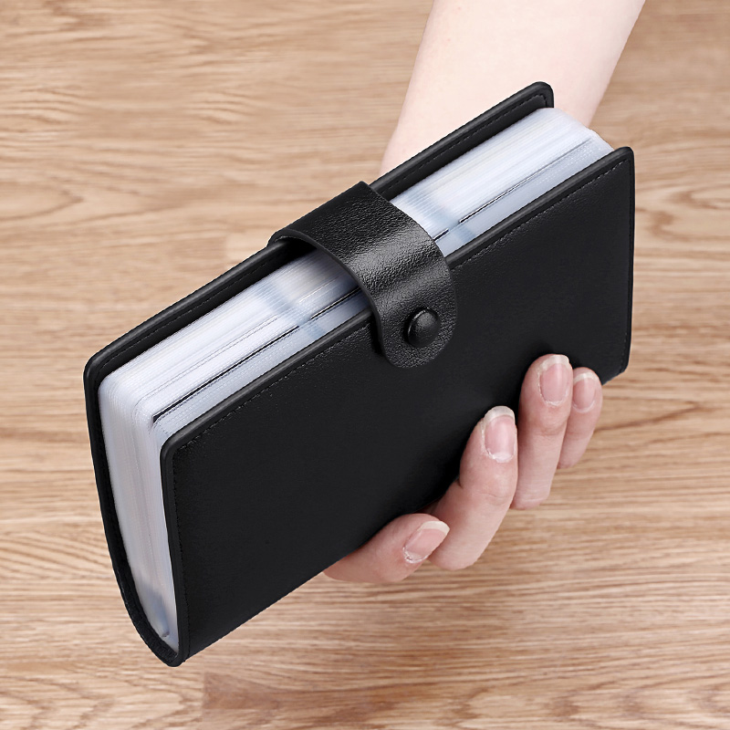 Card bag men's real leather large capacity long clip women's card leather cover multi card position card bag certificate integration