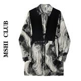 MSHI CLUB2021复古泼墨印花衬衫个性绑带马甲背心两件套衬衣秋装