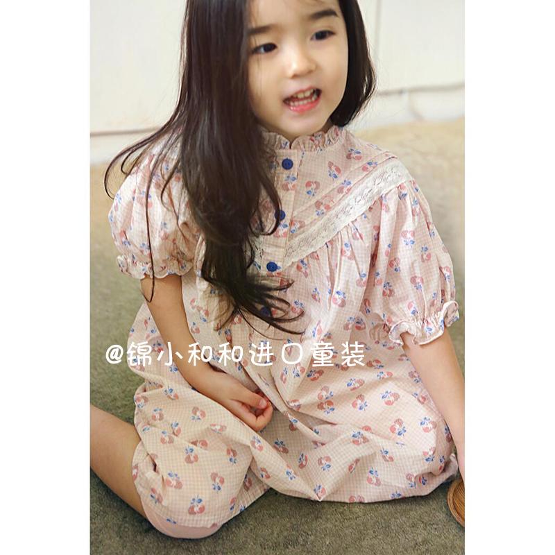 现货 锦小和和amber女童连衣裙夏小仙女宝宝韩国纯棉粉色儿童裙子