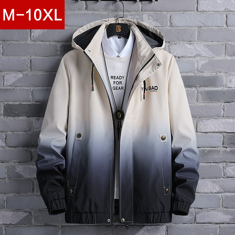 Jacket male spring and autumn loose youth clothes high school student gown plus fat plus size fat gradient color jacket
