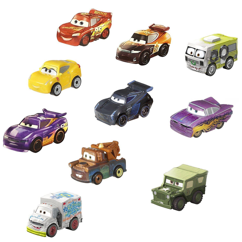 美泰MINI赛车总动员系列迷你小车10辆装FLG72合金车CARS3闪电麦昆