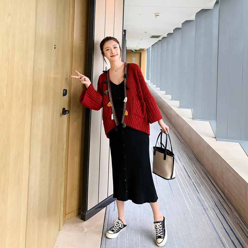 YYZJ孕妇装时尚套装2019秋装新款针织外套两件套潮妈背心裙子春秋11-06新券
