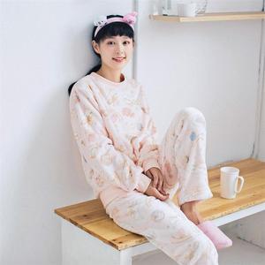 秋冬季珊瑚绒长袖睡衣女可爱韩版加厚冬天学生法兰绒家居服套装