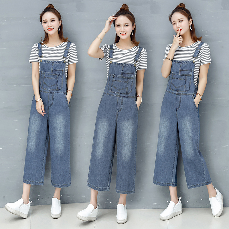 勾勾牛仔背带裤两件套女夏2018新款时尚潮韩版夏天宽松阔腿裤套装