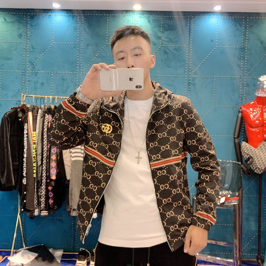 [CC Du Jian] new double g fashion print coat metal decoration Hooded Jacket zipper facing