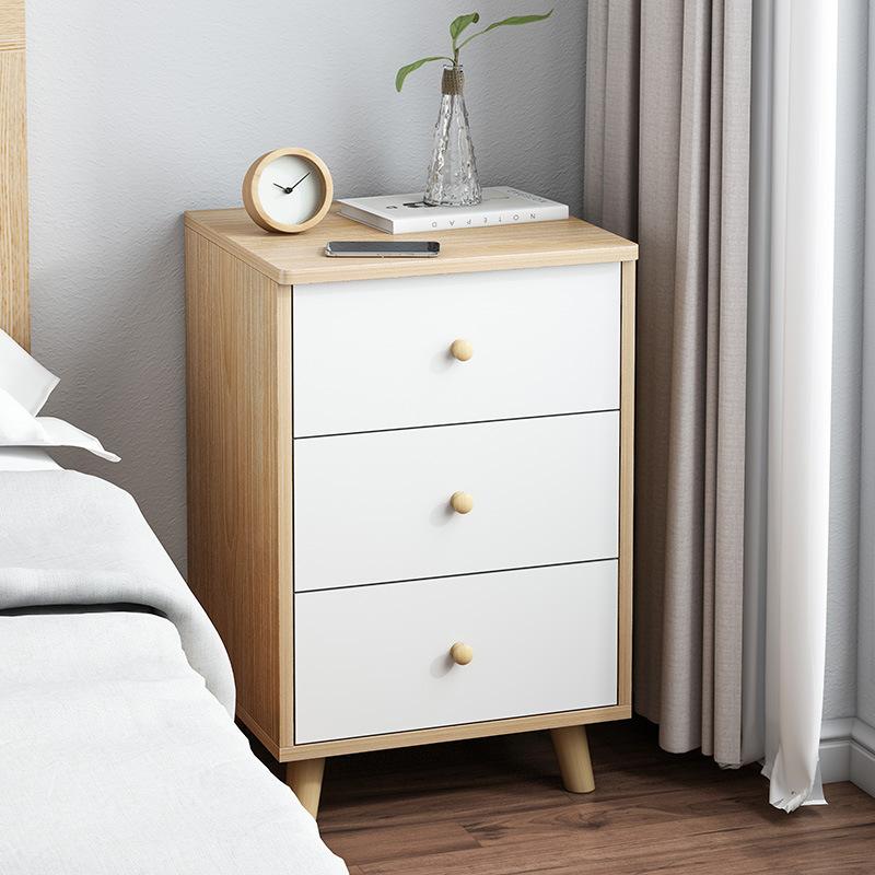 极简床头柜北欧风床边收纳储物柜带锁简易卧室床边柜置物架实木腿