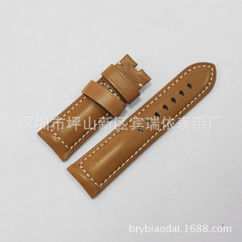 厂家高档真皮防水头层牛皮手表带 时尚手表配件纯色表带 买一送一