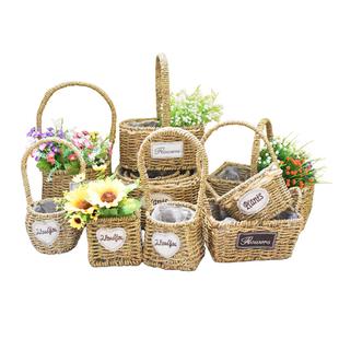 插花小花籃手提手工編織籃子藤編裝花筐客廳裝飾乾花花瓶花藍花盆