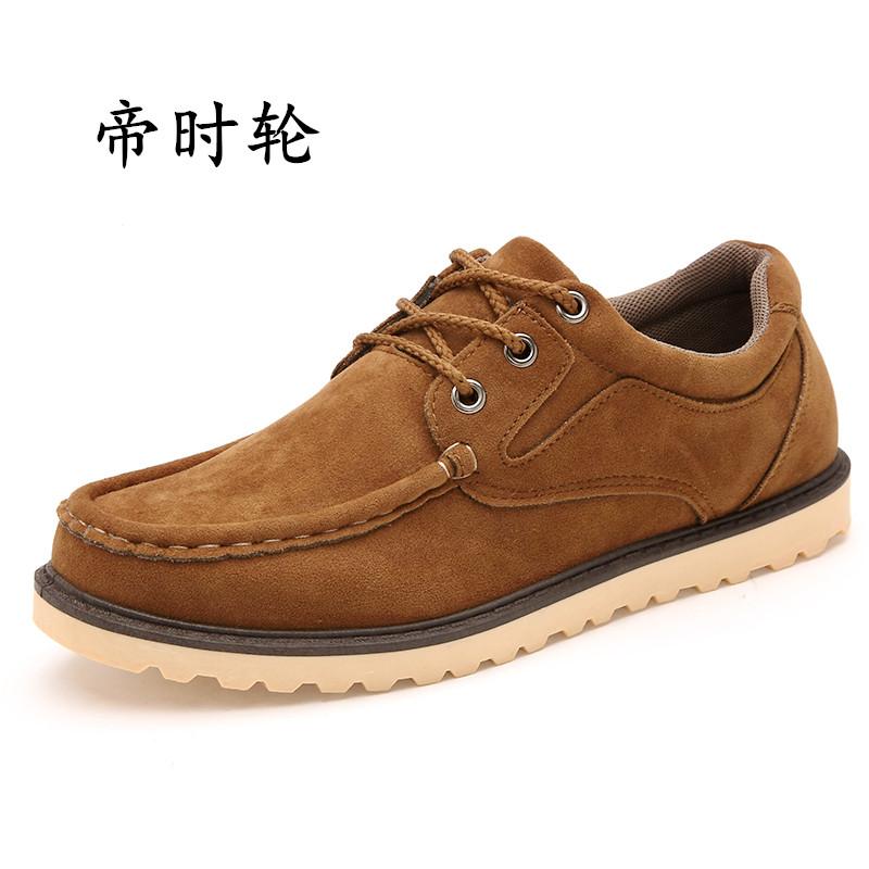 秋 短靴男鞋英倫工裝鞋低幫圓頭係帶 皮鞋磨砂大頭皮鞋潮鞋