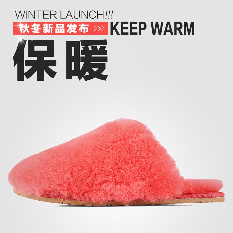 冬季雪地靴拖鞋女羊皮毛一体拖鞋包头居家保暖家居室内防滑棉拖