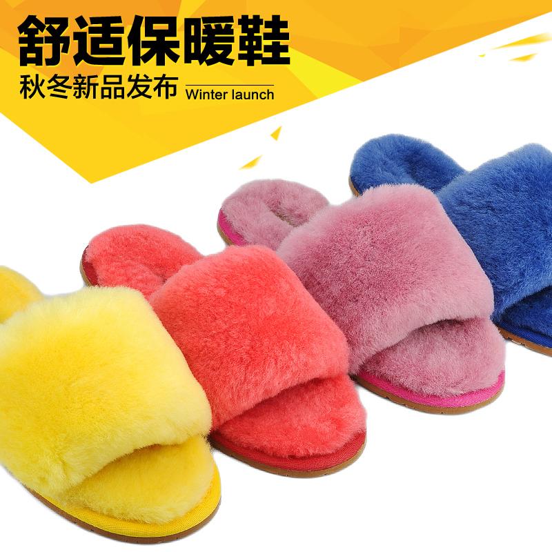 冬季雪地靴羊皮毛一体棉拖鞋女一字拖加厚羊毛居家日常月子鞋