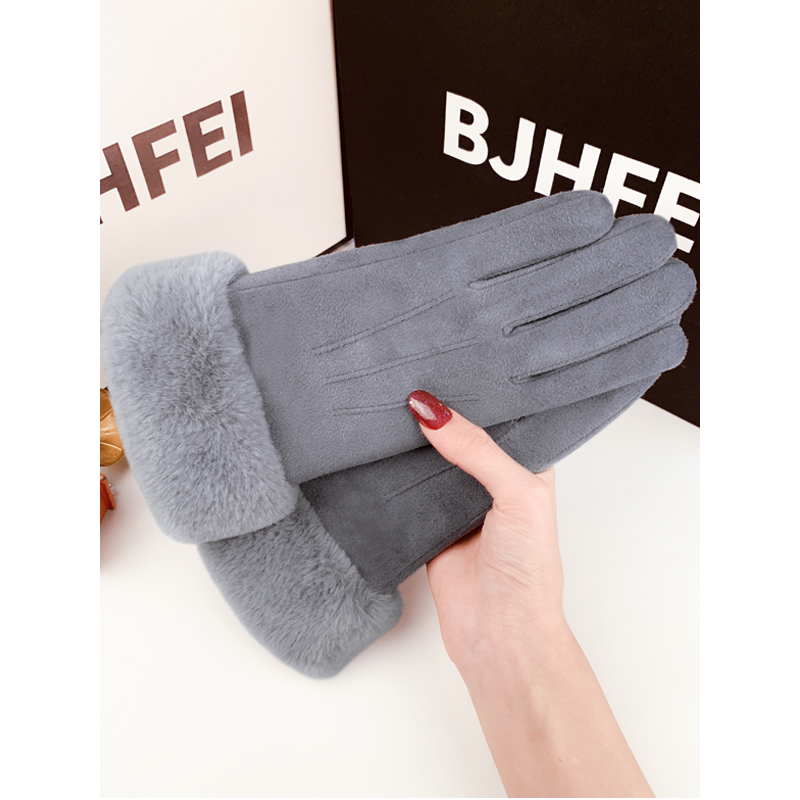 Gloves female winter lovely touch screen warm Plush thick suede gloves cycling autumn cold electric car