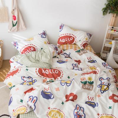 卡通四件套全棉纯棉可爱少女心双人床单被套床笠款三件套床上用品