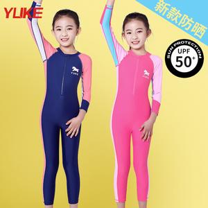 儿童女童小中大童长袖连体游泳衣