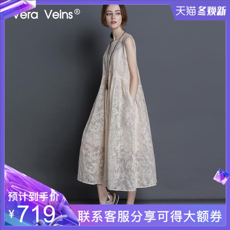 Vera Veins2019夏季新款宽松中长款绣花真丝欧根纱无袖背心连衣裙