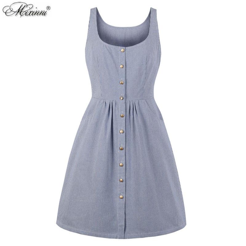 欧美小清晰无袖背心裙单排扣圆领大码修身条纹复古夏季女装连衣裙