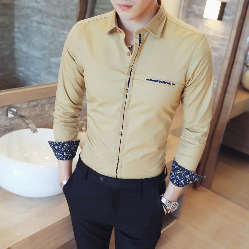 韩版新款男士纯色碎花休闲百搭装长袖衬衣206A-CS38-P20
