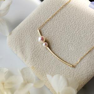 七月珠宝『smile』18K金日本天然akoya海水小珍珠项链粉镜面微笑