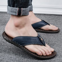Herringbone Slippers Men's New Summer Shoes Men's Outdoor Personality Beach Leather Slippers Men's Fashion Outside