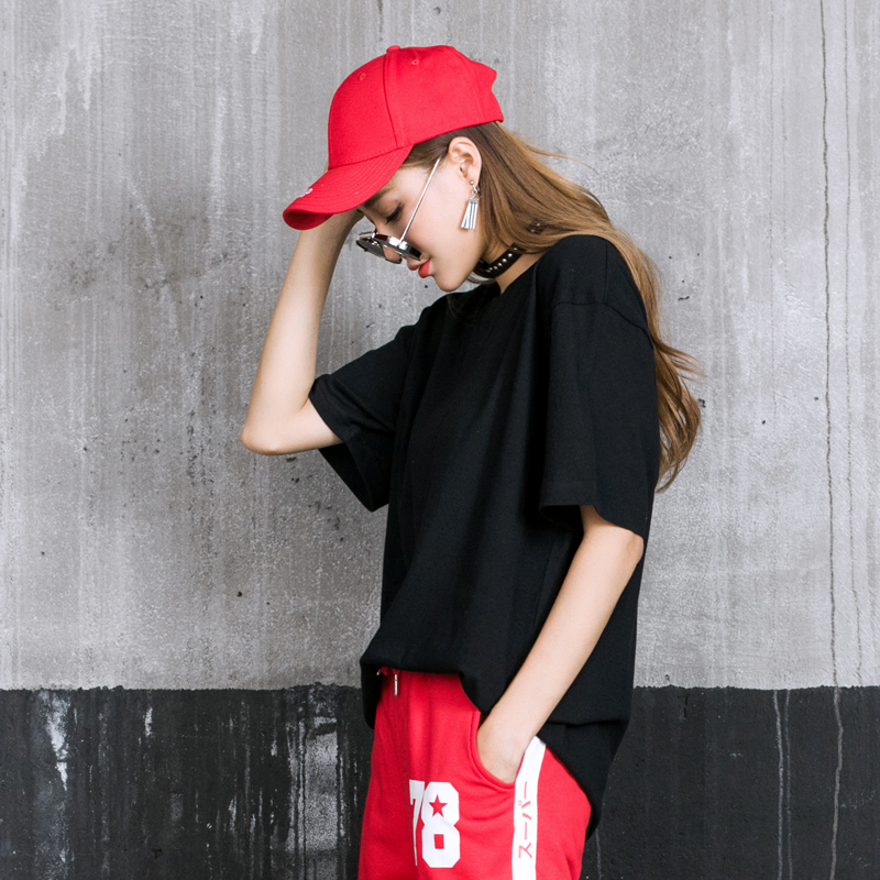 街舞純色短袖女T恤男嘻哈dancer寬鬆HipHop 潮流國潮肥大潮牌