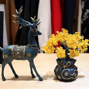 创意客厅电视酒柜装饰品摆件家居黄水晶摇钱发财树招财鹿开业礼品