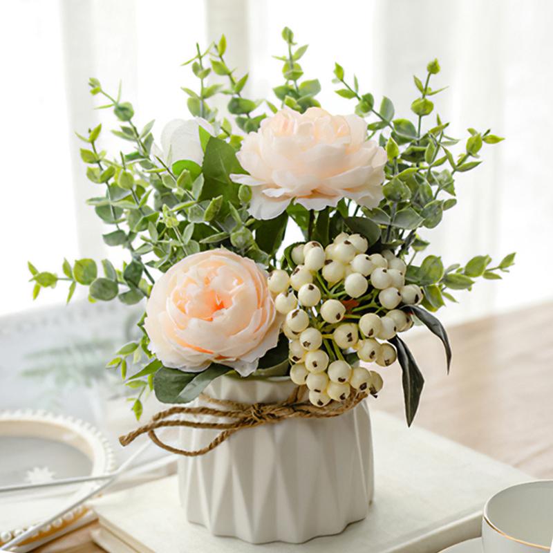 北欧仿真花客厅摆设餐桌面摆花防塑料花束装饰花艺小摆件绢花假花