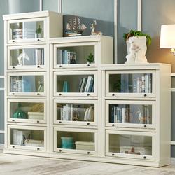 美式书架白色轻奢实木落地组合柜子