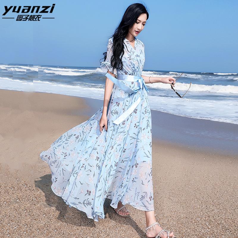 园子靓衣连衣裙女2020夏季新款修身长款蓝色雪纺印花沙滩长裙1103