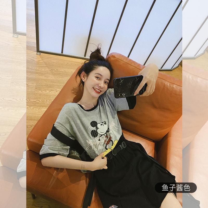 张大奕 迪士尼米奇合作印花韩版t恤女装2019新款潮宽松短袖上衣