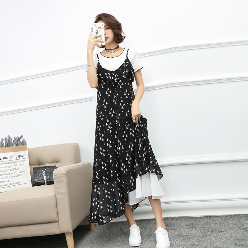 【断码清仓】2018新款chic长裙温柔风吊带裙两件套雪纺连衣裙女夏