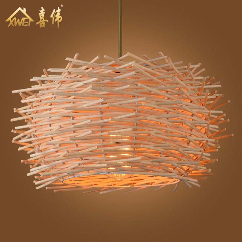 Nordic IKEA personalized creative chandelier Restaurant Bar Cafe American Rural rattan art bamboo bird nest lamp decoration
