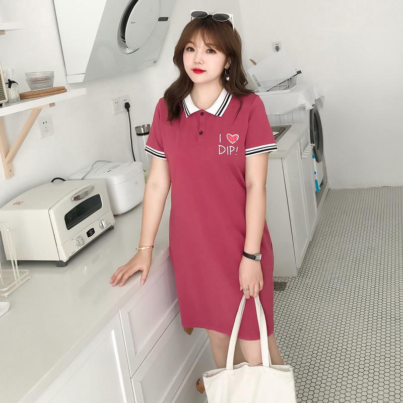 2018胖mm夏季大码女装学院风polo印花显瘦200斤3xl红色a字连衣裙