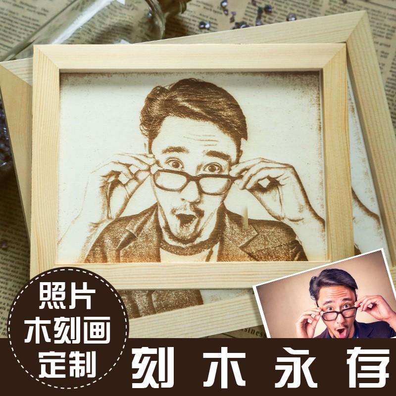 七夕情人节女生日礼物送女友情侣男生实用创意礼品木刻画定制照片