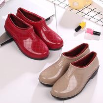 加绒雨靴防滑防水鞋胶鞋加棉雨鞋低帮浅口女厨房大人时尚保暖冬季