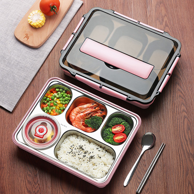 Stainless steel compartment, large capacity, portable insulation lunch box for office workers, lunch box, student canteen, partitioned large