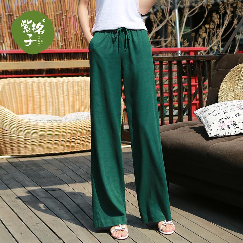 2018夏季新款直筒裤女亚麻裤女宽松显瘦阔腿休闲裤女韩版大码长裤