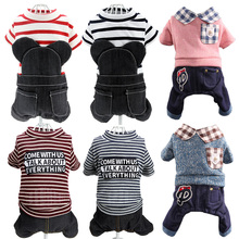 Pet Clothes, Dogs, Spring and Autumn Knitted Denim Suit, Four-legged Clothes, Lattice Collar, Teddy Puppy Clothes