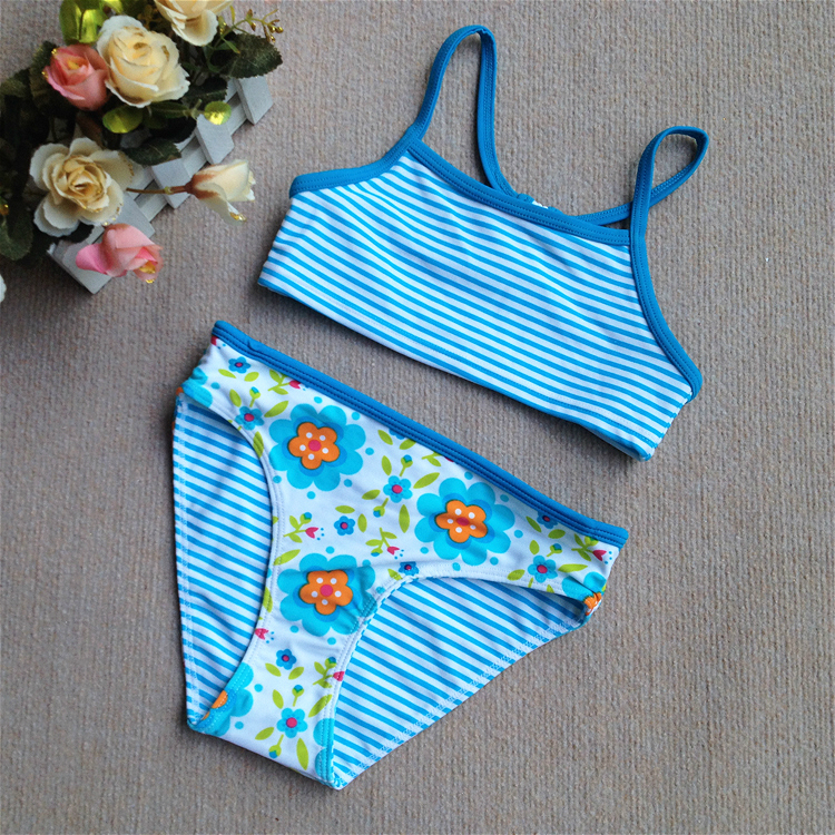 European and American two-layer elastic nylon striped flower two piece girls swimsuit
