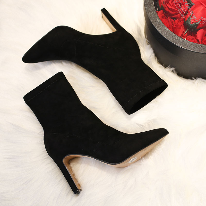 2020 new net red thin and thin boots socks boots small heel elastic boots womens short boots spring and autumn single boots high heel womens shoes boots