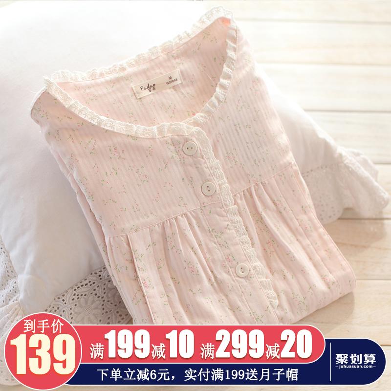 富朵春夏季纱布月子服薄款春秋纯棉产后哺乳衣孕妇睡衣喂奶衣套装