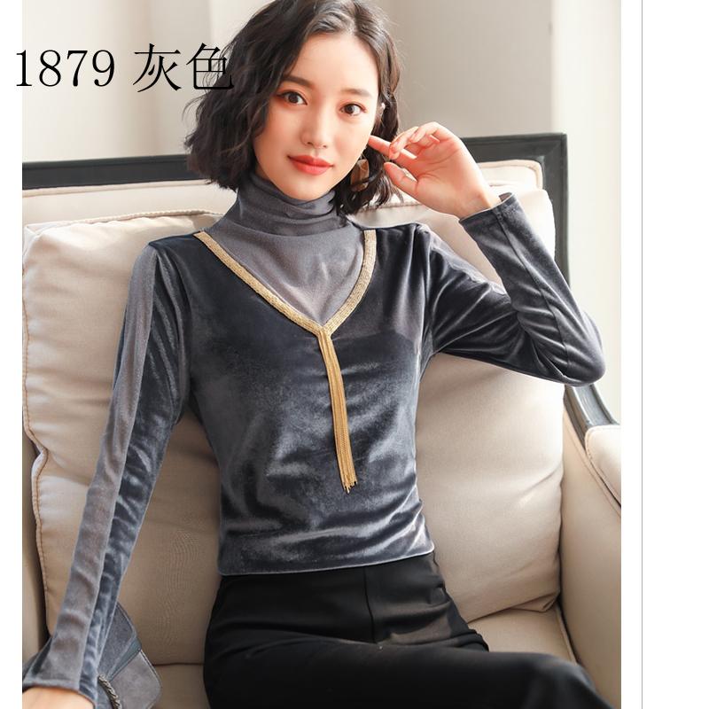 新款秋装镂空蕾丝雪纺衫女 网纱拼接长袖大码金丝绒打底衫上衣