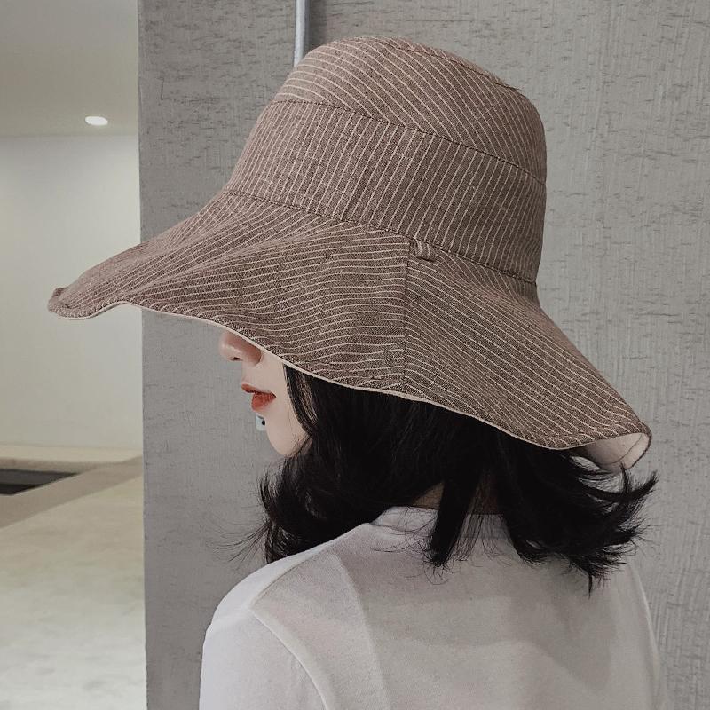 韩版渔夫帽女夏大沿百搭遮阳帽太阳帽防紫外线遮脸防晒帽子可折叠