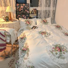 优恋家居韩国公主风复古花卉床上床裙四件套全棉纯棉被套1.5/1.8m