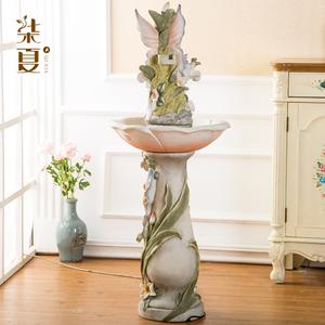柒夏流水喷泉欧式摆件家居饰品  创意美式软装落地工艺品吹笛天使