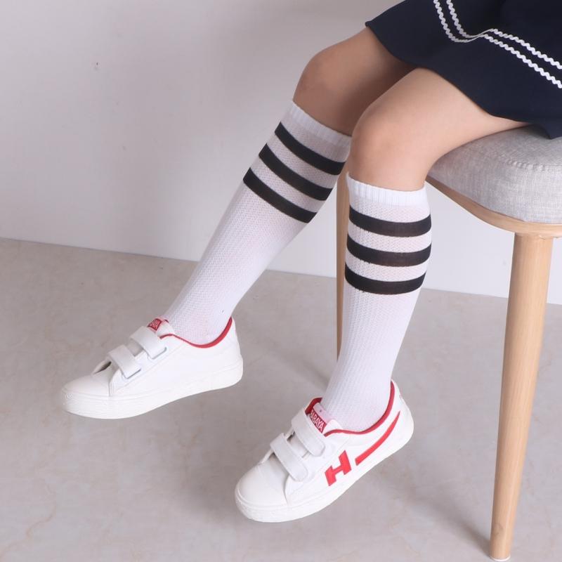 夏季网眼薄款儿童长筒袜纯棉白色条纹长袜子女童高筒袜男孩中筒袜