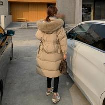高端卡其色羽绒服女2020年冬季新款修身收腰大毛领中长款过膝外套