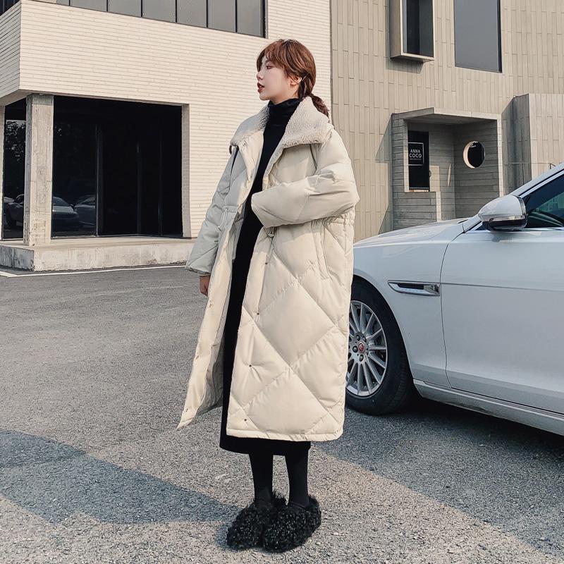 2020冬季新款女装白鸭绒加厚羽绒服中长款收腰显瘦过膝长款外套潮